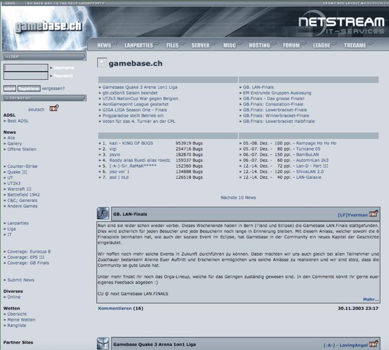 Der erste grosse Erfolg mit einem online Portal namens Gamebase ist heute noch zu finden. Die Seite sah für die Zeit in der sie entstanden ist schon durchaus modern aus und hatte zahlreiche Features moderner Webseiten, was durchaus dazu beigetragen hat, dass das Projekt erfolgreich war.